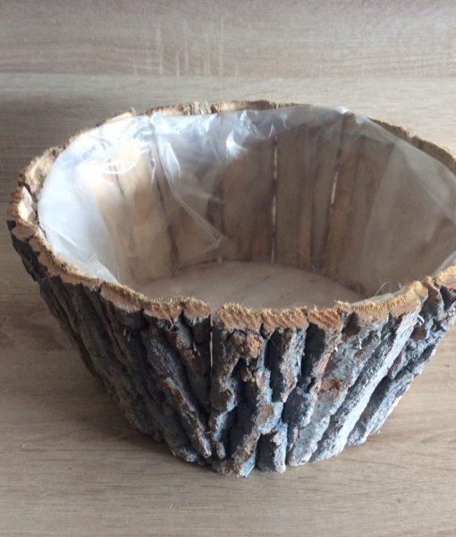Rindenpflanzschale grau, rund mit Folie, 30x30x15cm