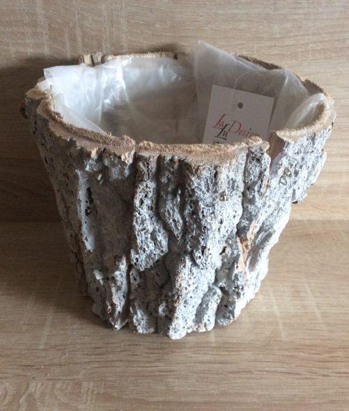 Rindenpflanztopf weiß gewaschen rund mit Folie, für Orchidee passend, 18x18x15cm