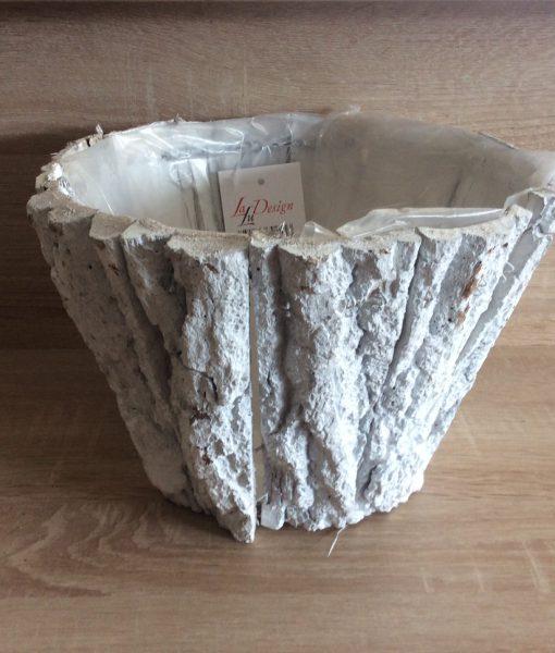 Rindenpflanztopf weiß gewaschen rund mit Folie, 25x25x17cm