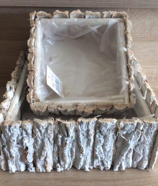 Rindenpflanzschale weiß gewaschen eckig 2er Satz mit Folie, 30x30x11cm