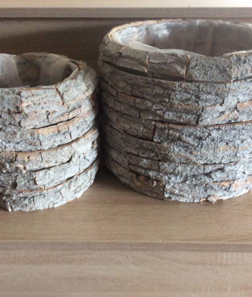 Rindenpflanztopf grau, rund 2er Satz mit Folie, 30x22cm, 20x19cm