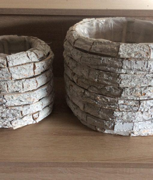 Rindenpflanztopf weiß gewaschen, rund 2er Satz mit Folie, 30x22cm, 20x19cm