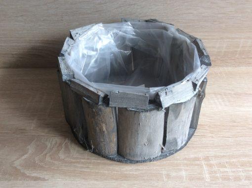 Pflanzgefäß rund mit Folie aus Holzstückchen natur, 20 x 11 cm , EAN 4251123310903