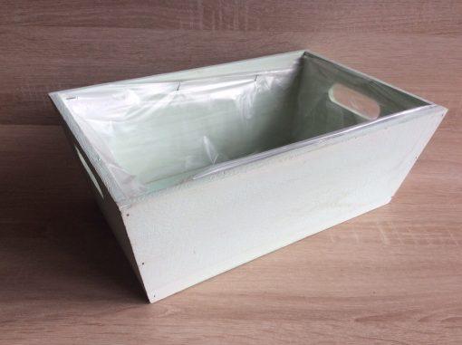 Holzkiste mit Folie, 32x21x12h cm, rechteckig, pastell-mintgrün, EAN 4251123308443