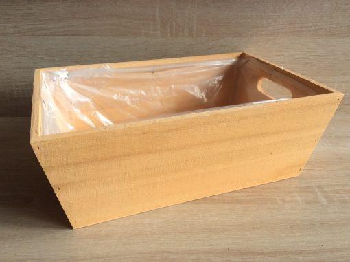 Holzkiste mit Folie, 32x21x12h cm, rechteckig, apricot, EAN 4251123308474