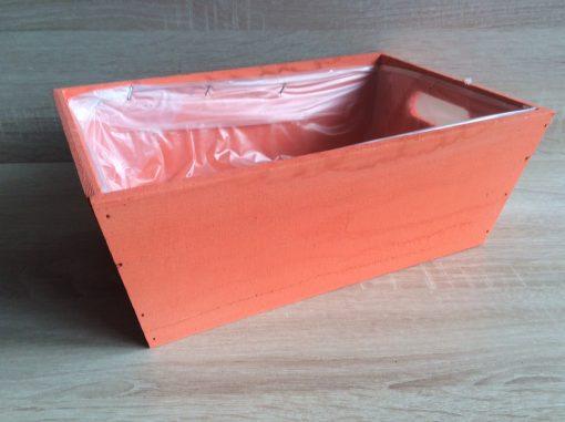 Holzkiste mit Folie, 32x21x12h cm, rechteckig, blutorange, EAN 4251123308481